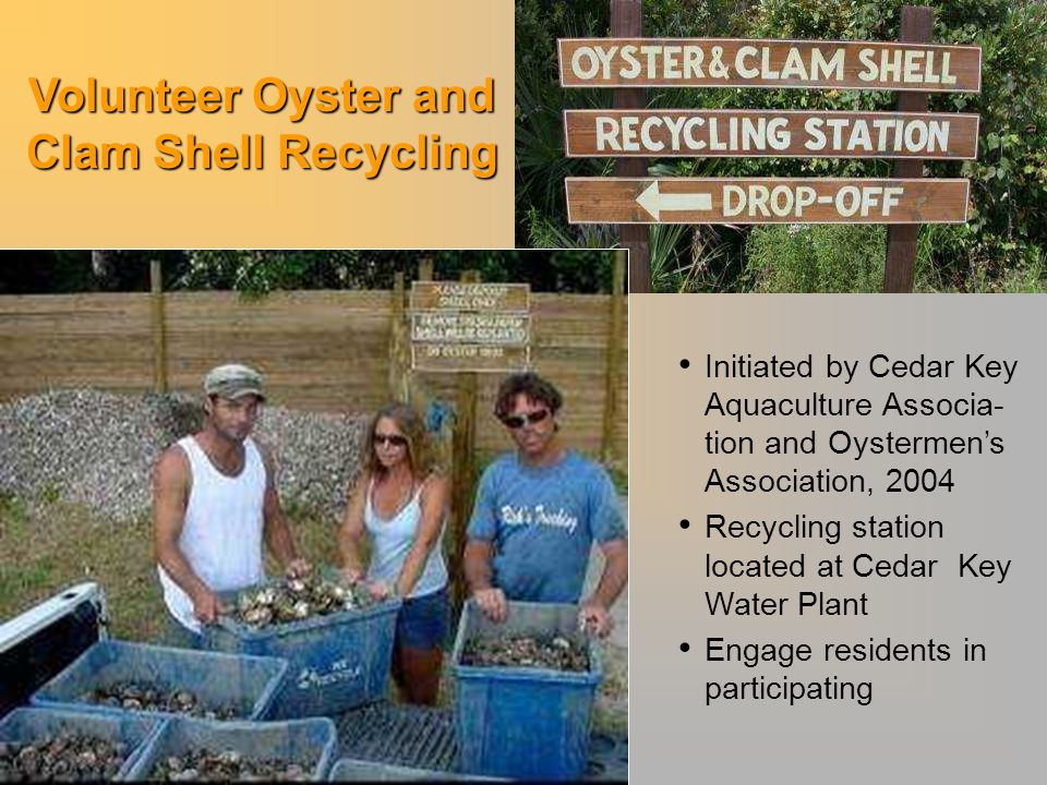 Initiated by Cedar Key Aquaculture Associa- tion and Oystermen's Association, 2004 Recycling station located at Cedar Key Water Plant Engage residents in participating Volunteer Oyster and Clam Shell Recycling
