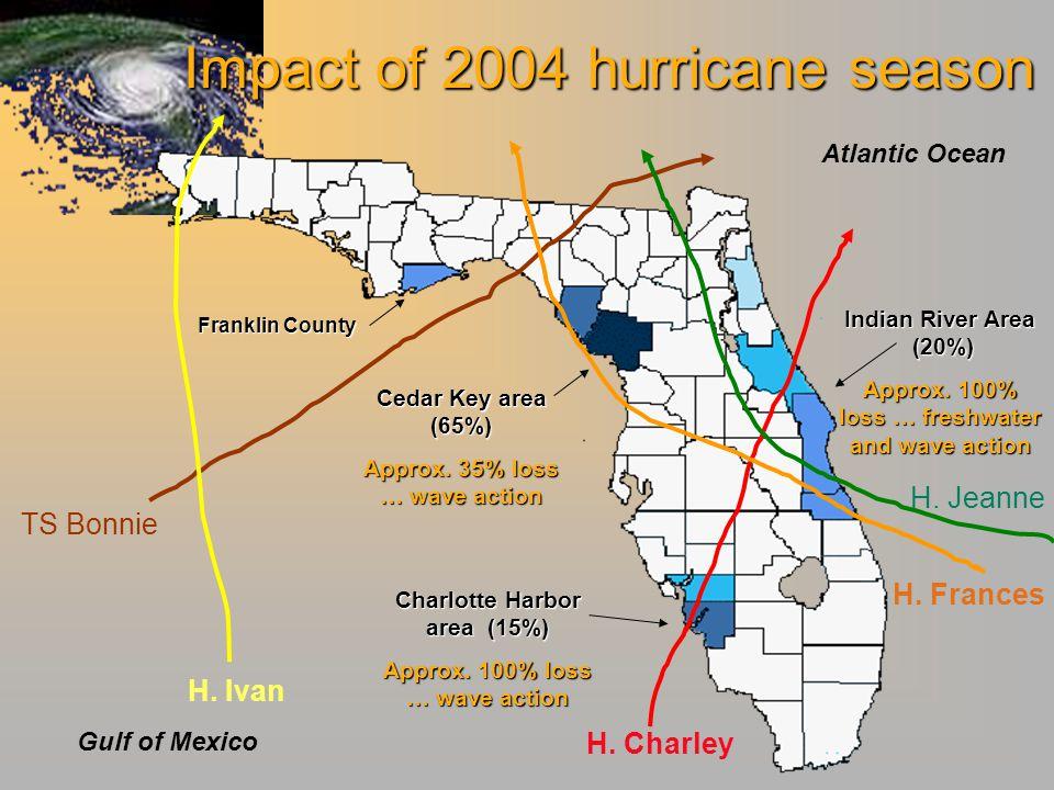 Impact of 2004 hurricane season Atlantic Ocean Gulf of Mexico Cedar Key area (65%) Approx.