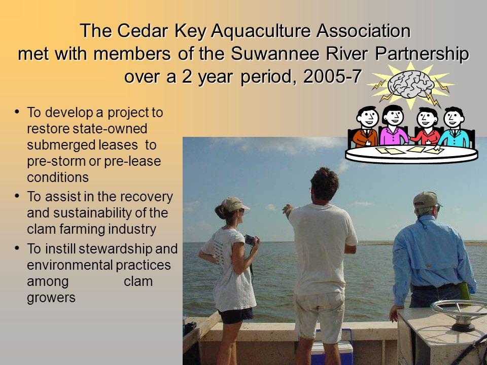 To develop a project to restore state-owned submerged leases to pre-storm or pre-lease conditions To assist in the recovery and sustainability of the clam farming industry To instill stewardship and environmental practices among clam growers The Cedar Key Aquaculture Association met with members of the Suwannee River Partnership over a 2 year period, 2005-7