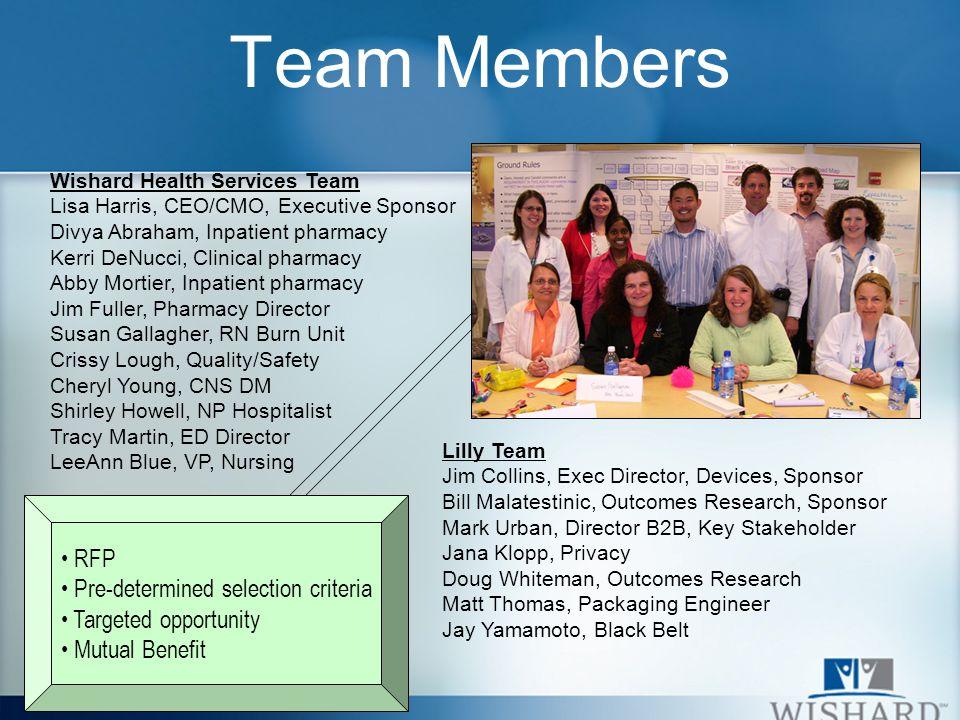 Team Members Wishard Health Services Team Lisa Harris, CEO/CMO, Executive Sponsor Divya Abraham, Inpatient pharmacy Kerri DeNucci, Clinical pharmacy A