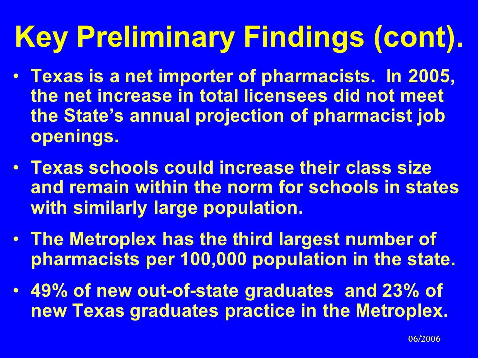 06/2006 Key Preliminary Findings (cont). Texas is a net importer of pharmacists.