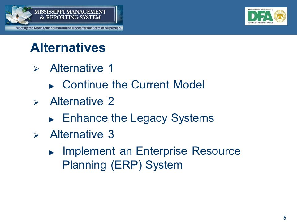 5 5  Alternative 1 Continue the Current Model  Alternative 2 Enhance the Legacy Systems  Alternative 3 Implement an Enterprise Resource Planning (ERP) System Alternatives