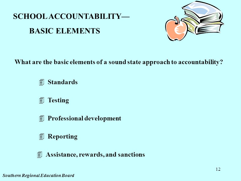 12 SCHOOL ACCOUNTABILITY— BASIC ELEMENTS What are the basic elements of a sound state approach to accountability? 4Standards 4Testing 4Professional de