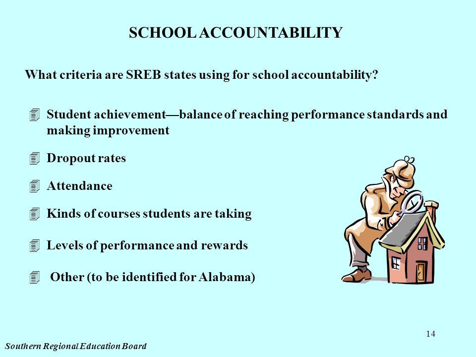 14 SCHOOL ACCOUNTABILITY What criteria are SREB states using for school accountability.