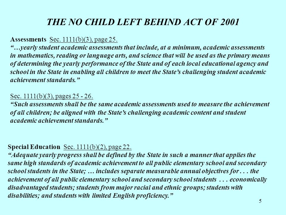 """5 THE NO CHILD LEFT BEHIND ACT OF 2001 Assessments Sec. 1111(b)(3), page 25. """"…yearly student academic assessments that include, at a minimum, academi"""