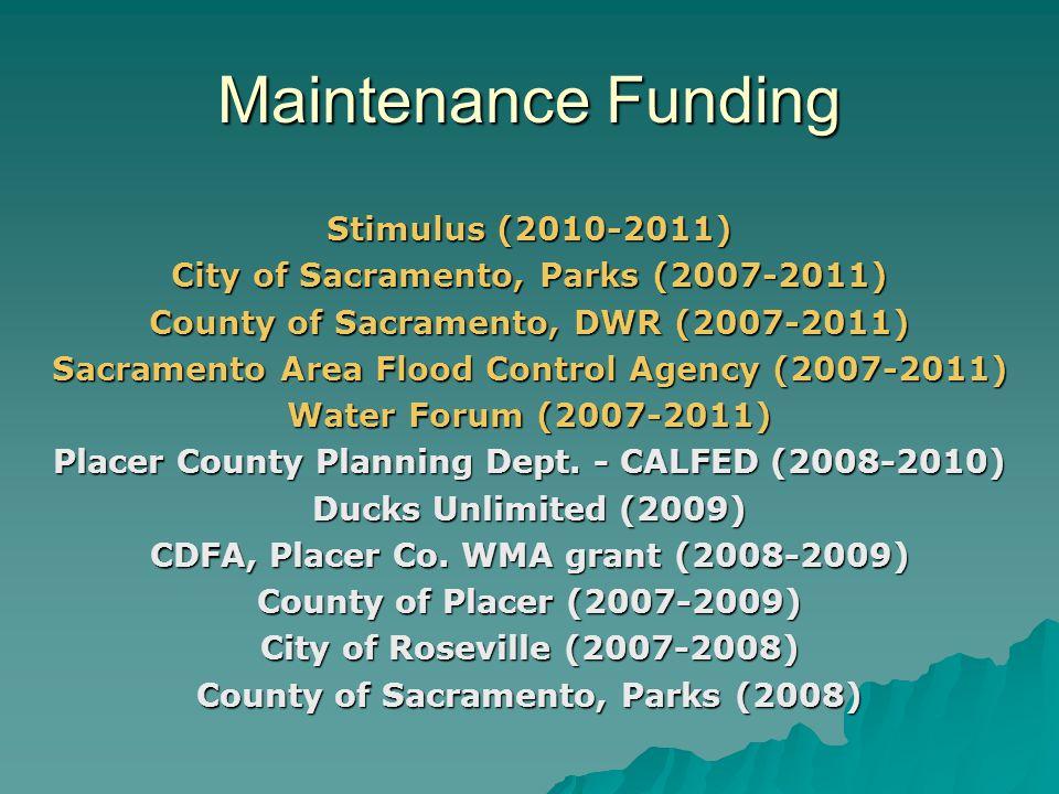 Stimulus (2010-2011) City of Sacramento, Parks (2007-2011) County of Sacramento, DWR (2007-2011) Sacramento Area Flood Control Agency (2007-2011) Wate
