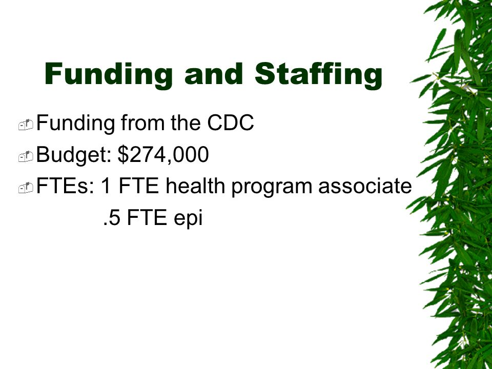 Funding and Staffing  Funding from the CDC  Budget: $274,000  FTEs: 1 FTE health program associate.5 FTE epi