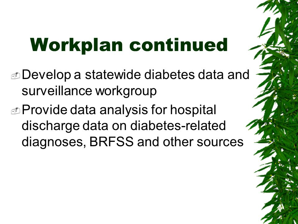Workplan continued  Develop a statewide diabetes data and surveillance workgroup  Provide data analysis for hospital discharge data on diabetes-rela