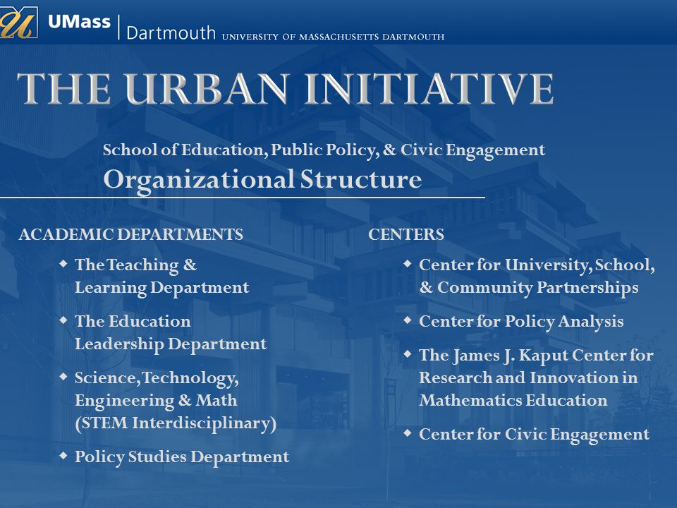 School of Education, Public Policy, & Civic Engagement Organizational Structure ACADEMIC DEPARTMENTS  The Teaching & Learning Department  The Educat