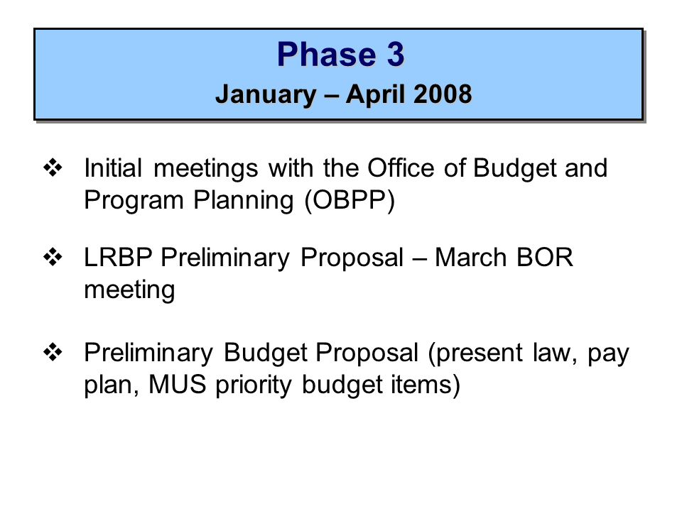 Phase 3  Initial meetings with the Office of Budget and Program Planning (OBPP)  LRBP Preliminary Proposal – March BOR meeting  Preliminary Budget Proposal (present law, pay plan, MUS priority budget items) January – April 2008