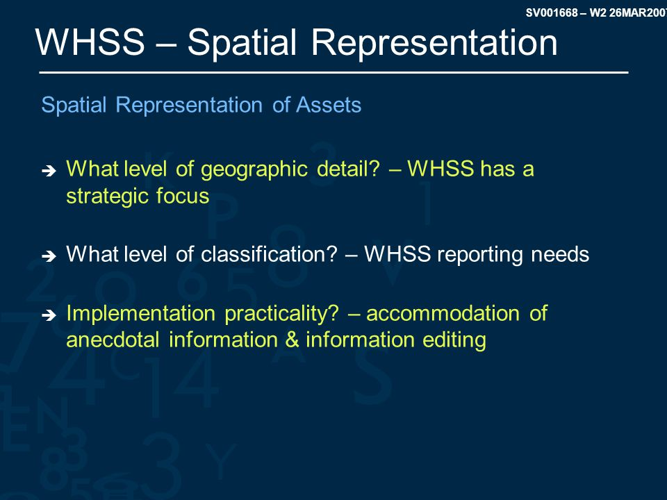 SV001668 – W2 26MAR2007 WHSS – Spatial Representation Spatial Representation of Assets  What level of geographic detail.