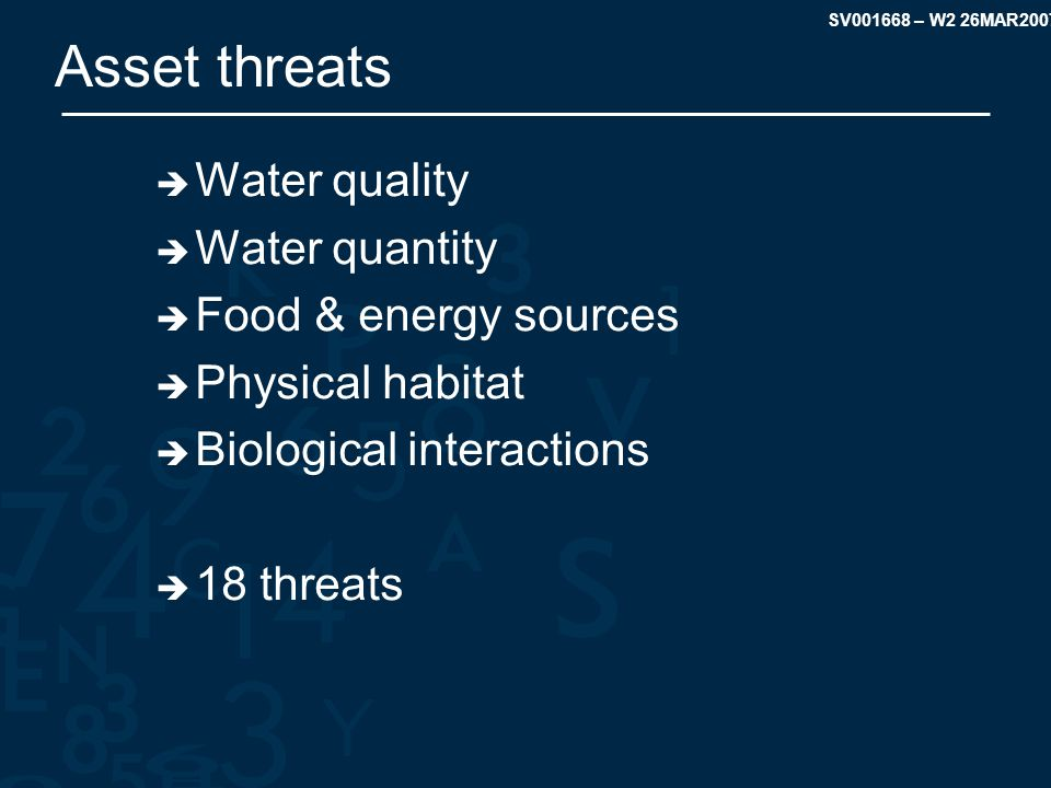 SV001668 – W2 26MAR2007 Asset threats  Water quality  Water quantity  Food & energy sources  Physical habitat  Biological interactions  18 threats