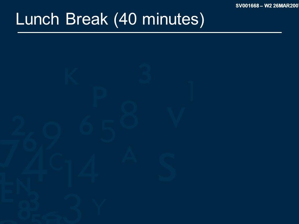 SV001668 – W2 26MAR2007 Lunch Break (40 minutes)