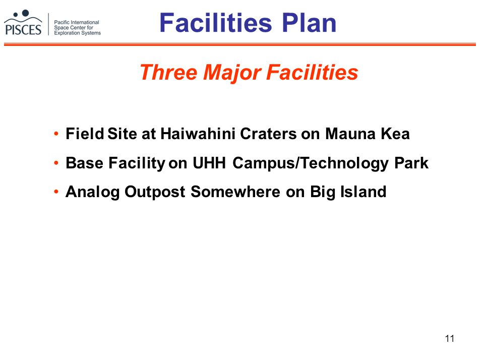 11 Facilities Plan Field Site at Haiwahini Craters on Mauna Kea Base Facility on UHH Campus/Technology Park Analog Outpost Somewhere on Big Island Thr