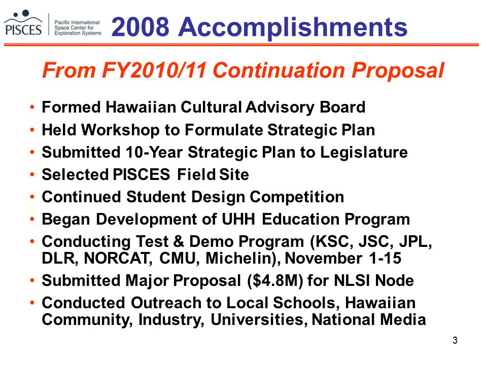 3 2008 Accomplishments From FY2010/11 Continuation Proposal Formed Hawaiian Cultural Advisory Board Held Workshop to Formulate Strategic Plan Submitted 10-Year Strategic Plan to Legislature Selected PISCES Field Site Continued Student Design Competition Began Development of UHH Education Program Conducting Test & Demo Program (KSC, JSC, JPL, DLR, NORCAT, CMU, Michelin), November 1-15 Submitted Major Proposal ($4.8M) for NLSI Node Conducted Outreach to Local Schools, Hawaiian Community, Industry, Universities, National Media