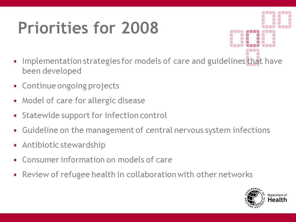 Priorities for 2008 Implementation strategies for models of care and guidelines that have been developed Continue ongoing projects Model of care for a