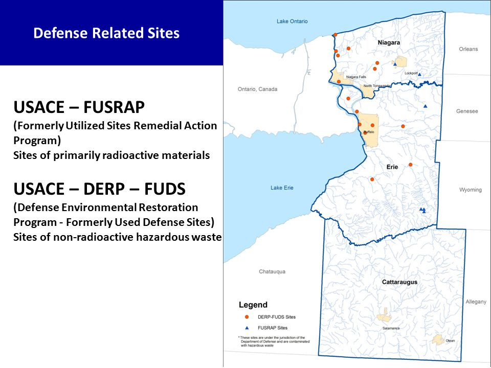 Defense Related Sites USACE – FUSRAP (Formerly Utilized Sites Remedial Action Program) Sites of primarily radioactive materials USACE – DERP – FUDS (Defense Environmental Restoration Program - Formerly Used Defense Sites) Sites of non-radioactive hazardous waste