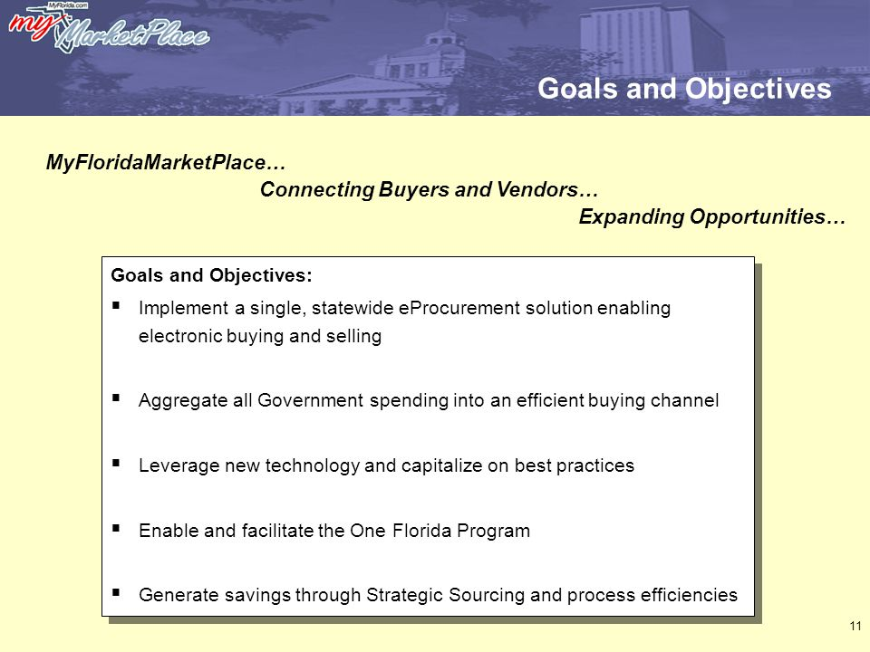11 Goals and Objectives Goals and Objectives:  Implement a single, statewide eProcurement solution enabling electronic buying and selling  Aggregate all Government spending into an efficient buying channel  Leverage new technology and capitalize on best practices  Enable and facilitate the One Florida Program  Generate savings through Strategic Sourcing and process efficiencies Goals and Objectives:  Implement a single, statewide eProcurement solution enabling electronic buying and selling  Aggregate all Government spending into an efficient buying channel  Leverage new technology and capitalize on best practices  Enable and facilitate the One Florida Program  Generate savings through Strategic Sourcing and process efficiencies MyFloridaMarketPlace… Connecting Buyers and Vendors… Expanding Opportunities…