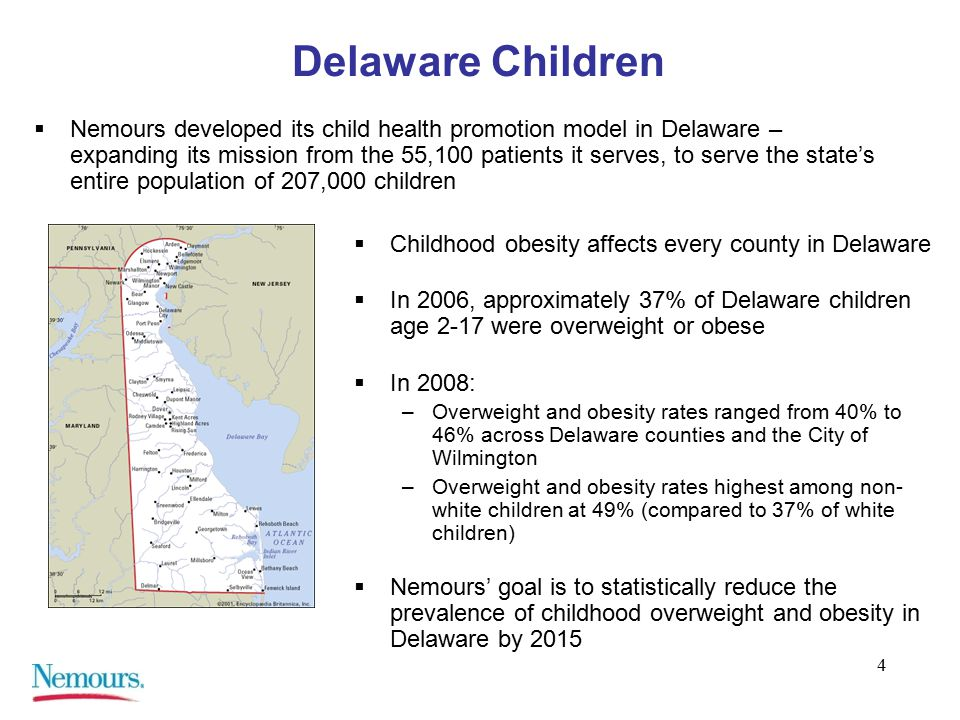 4 Delaware Children  Nemours developed its child health promotion model in Delaware – expanding its mission from the 55,100 patients it serves, to serve the state's entire population of 207,000 children  Childhood obesity affects every county in Delaware  In 2006, approximately 37% of Delaware children age 2-17 were overweight or obese  In 2008: –Overweight and obesity rates ranged from 40% to 46% across Delaware counties and the City of Wilmington –Overweight and obesity rates highest among non- white children at 49% (compared to 37% of white children)  Nemours' goal is to statistically reduce the prevalence of childhood overweight and obesity in Delaware by 2015