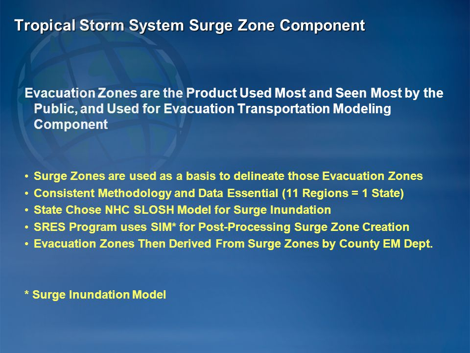 Evacuation Zones are the Product Used Most and Seen Most by the Public, and Used for Evacuation Transportation Modeling Component Surge Zones are used as a basis to delineate those Evacuation Zones Consistent Methodology and Data Essential (11 Regions = 1 State) State Chose NHC SLOSH Model for Surge Inundation SRES Program uses SIM* for Post-Processing Surge Zone Creation Evacuation Zones Then Derived From Surge Zones by County EM Dept.