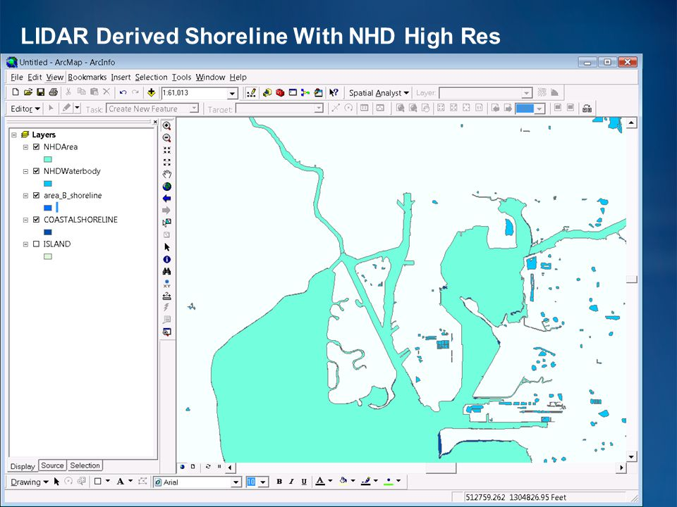 LIDAR Derived Shoreline With NHD High Res