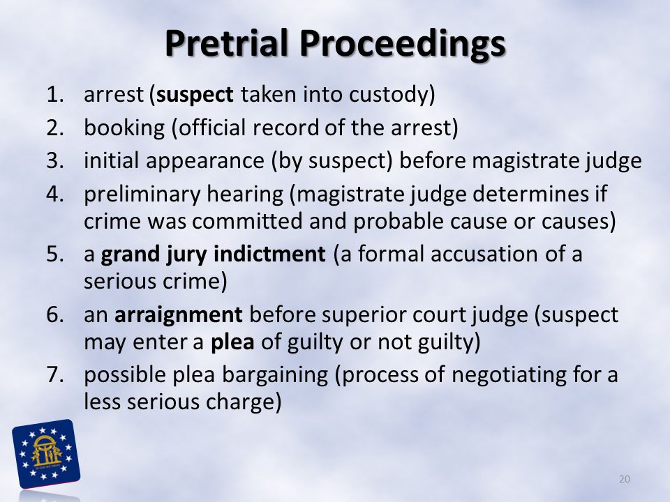 Pretrial Proceedings 1.arrest (suspect taken into custody) 2.booking (official record of the arrest) 3.initial appearance (by suspect) before magistra