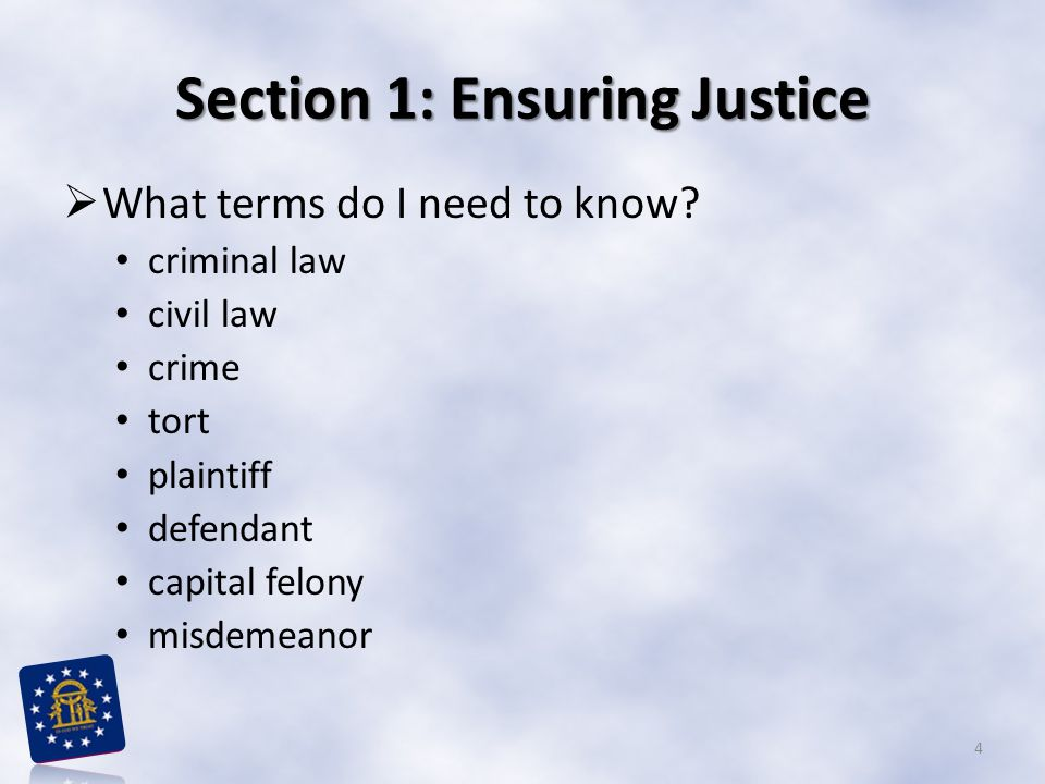 Section 1: Ensuring Justice  What terms do I need to know? criminal law civil law crime tort plaintiff defendant capital felony misdemeanor 4