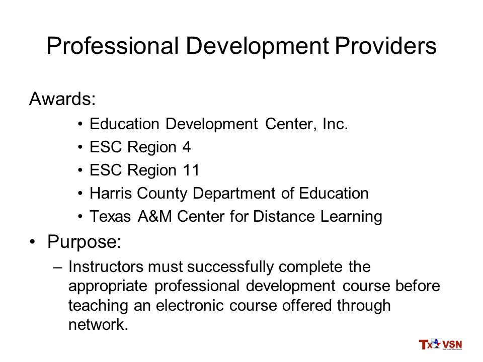 Professional Development Providers Awards: Education Development Center, Inc.