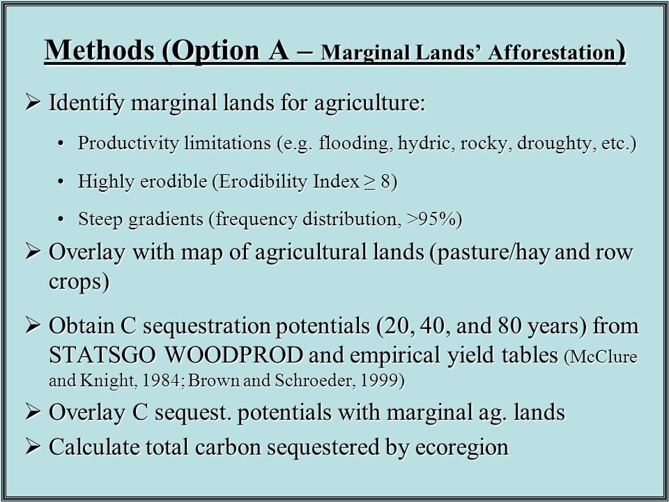 Methods (Option A – Marginal Lands' Afforestation )  Identify marginal lands for agriculture: Productivity limitations (e.g. flooding, hydric, rocky,