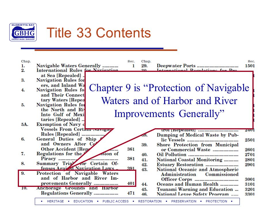 HERITAGE EDUCATION PUBLIC ACCESS RESTORATION PRESERVATION PROTECTION Title 33 Contents Chapter 9 is Protection of Navigable Waters and of Harbor and River Improvements Generally