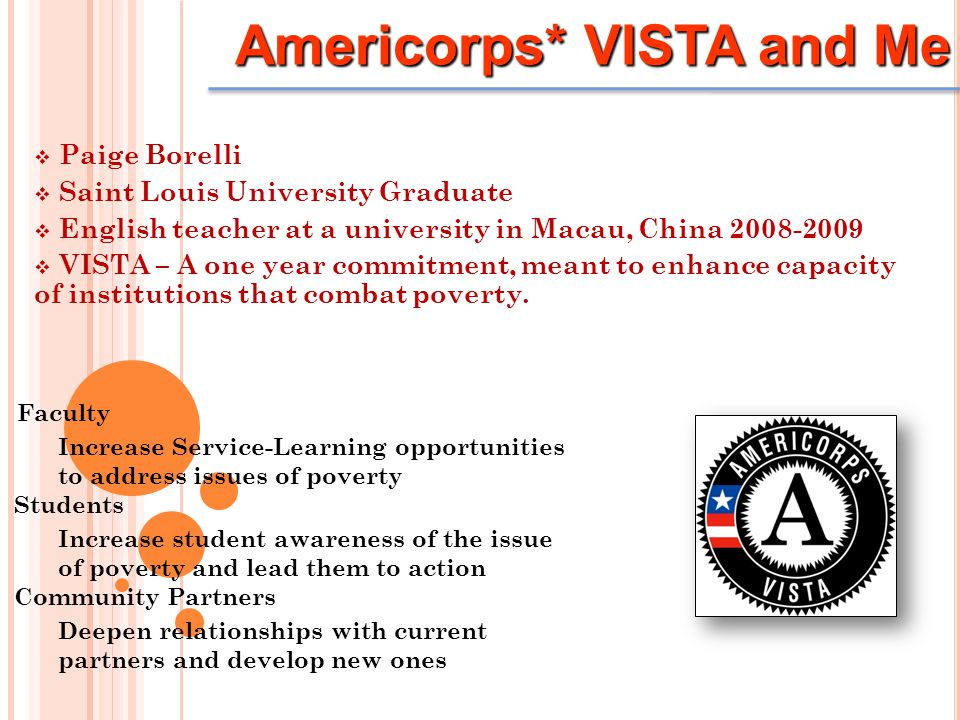  Paige Borelli  Saint Louis University Graduate  English teacher at a university in Macau, China 2008-2009  VISTA – A one year commitment, meant to enhance capacity of institutions that combat poverty.