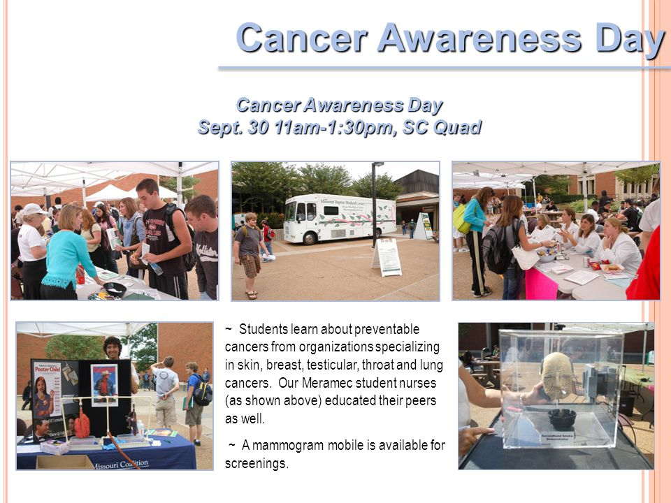 Cancer Awareness Day ~ Students learn about preventable cancers from organizations specializing in skin, breast, testicular, throat and lung cancers.