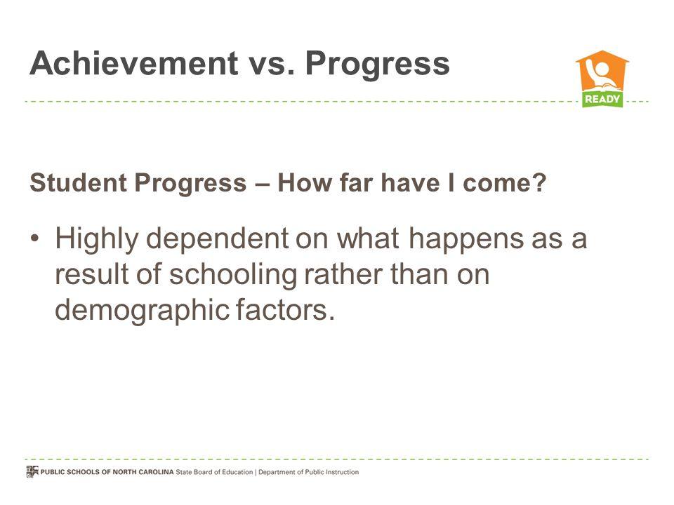 Achievement vs. Progress Student Progress – How far have I come.