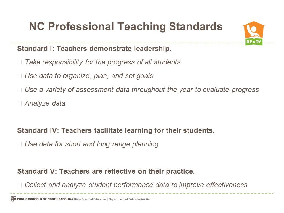 NC Professional Teaching Standards Standard I: Teachers demonstrate leadership.