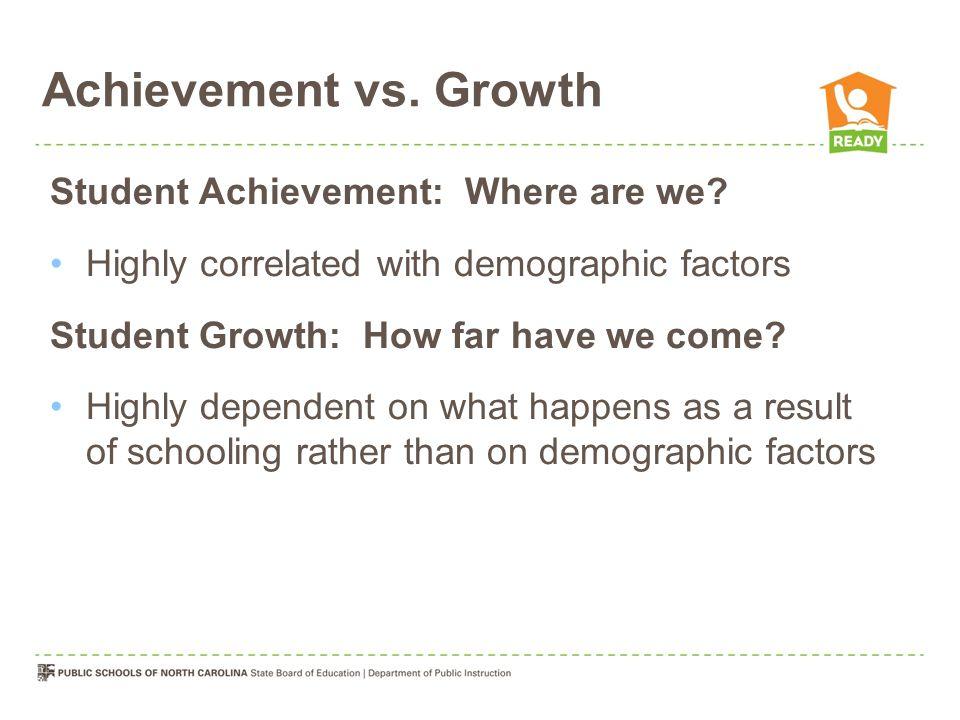 Achievement vs. Growth Student Achievement: Where are we.