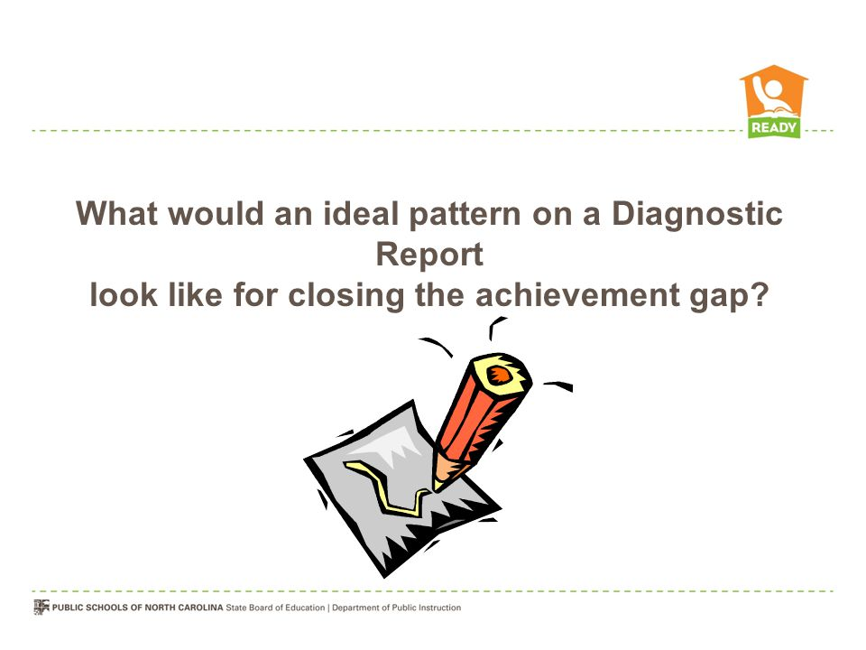 What would an ideal pattern on a Diagnostic Report look like for closing the achievement gap?