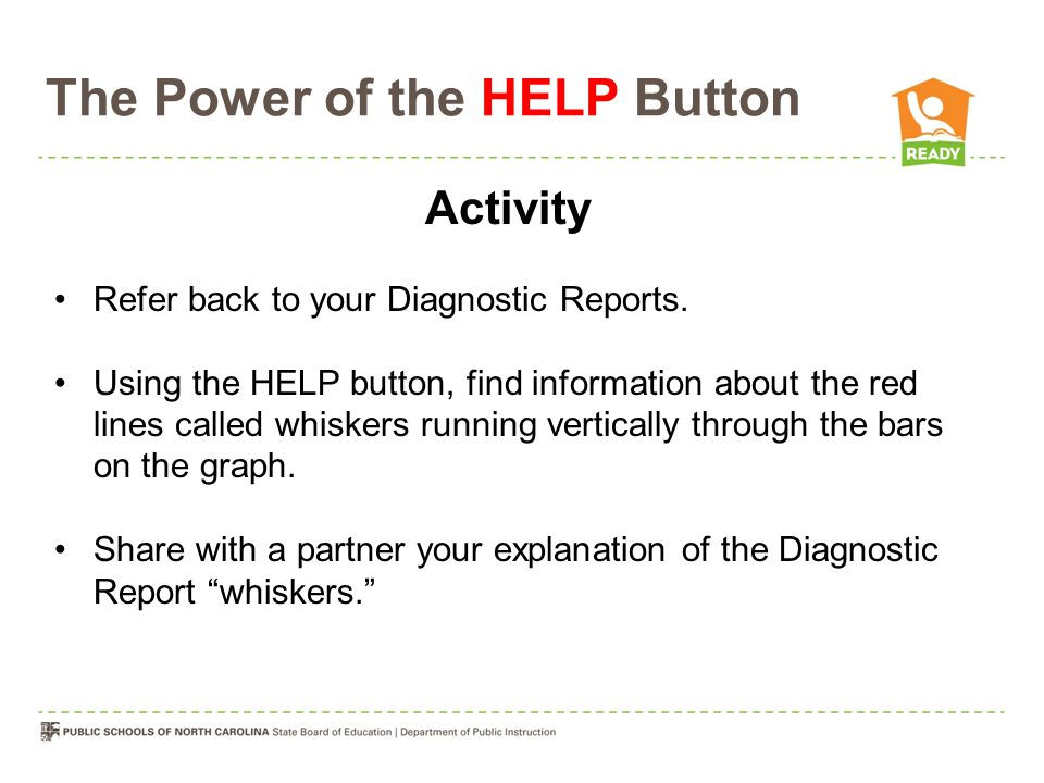 The Power of the HELP Button Activity Refer back to your Diagnostic Reports.
