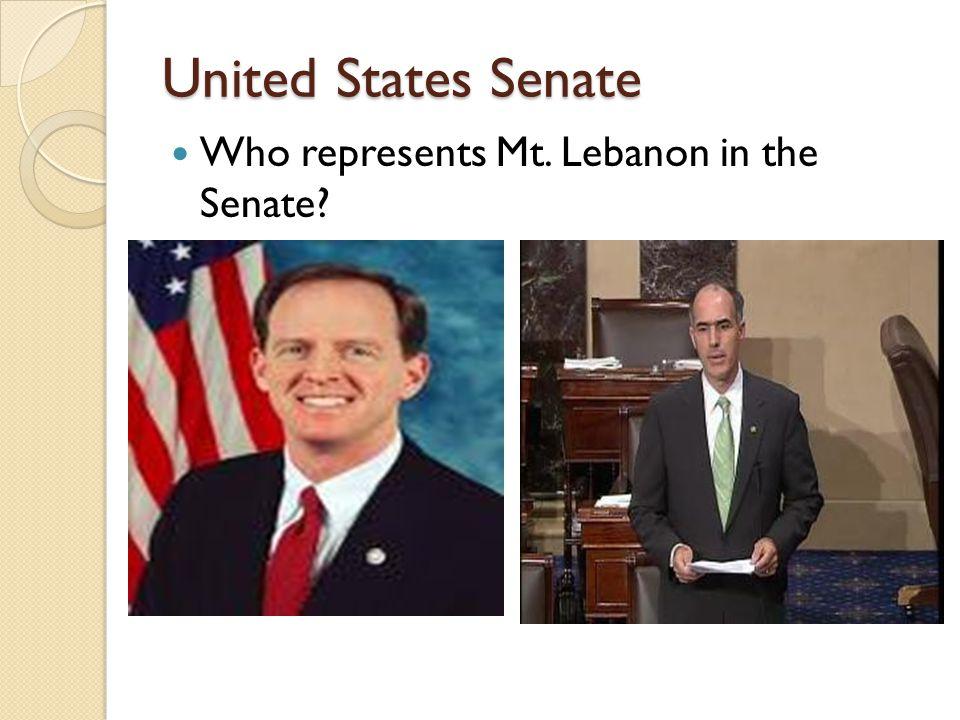 United States Senate Who represents Mt. Lebanon in the Senate?