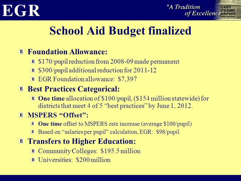 School Aid Budget finalized Foundation Allowance: $170/pupil reduction from 2008-09 made permanent $300/pupil additional reduction for 2011-12 EGR Foundation allowance: $7,397 Best Practices Categorical: One time allocation of $100/pupil, ($154 million statewide) for districts that meet 4 of 5 best practices by June 1, 2012.