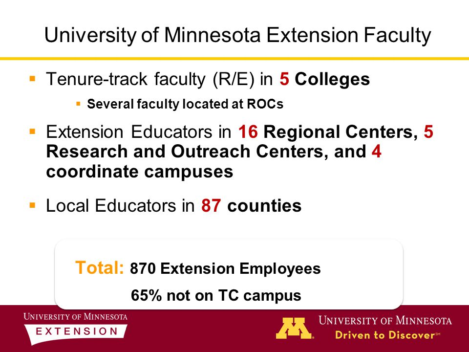  Tenure-track faculty (R/E) in 5 Colleges  Several faculty located at ROCs  Extension Educators in 16 Regional Centers, 5 Research and Outreach Centers, and 4 coordinate campuses  Local Educators in 87 counties Total: 870 Extension Employees 65% not on TC campus University of Minnesota Extension Faculty