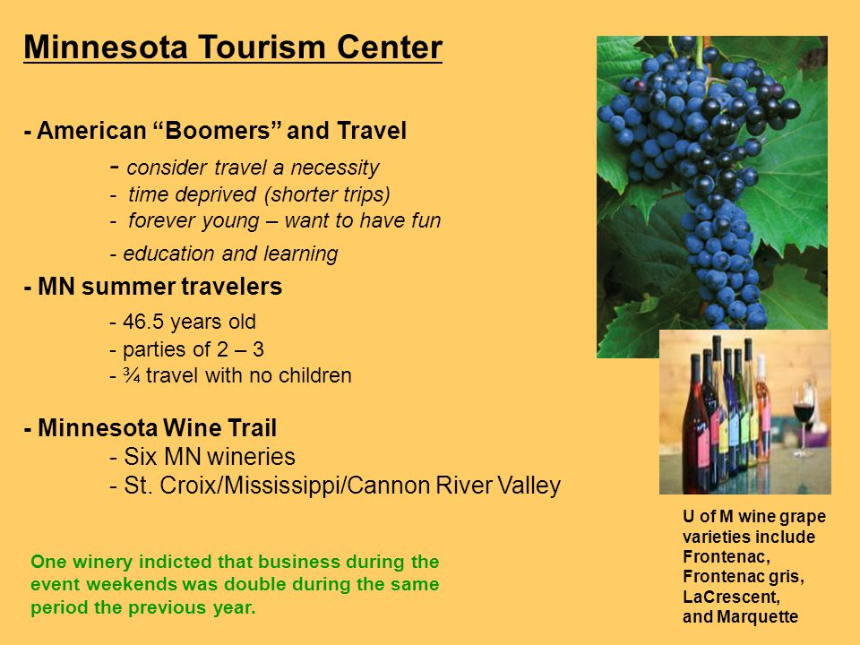 Minnesota Tourism Center - American Boomers and Travel - consider travel a necessity - time deprived (shorter trips) - forever young – want to have fun - education and learning - MN summer travelers - 46.5 years old - parties of 2 – 3 - ¾ travel with no children - Minnesota Wine Trail - Six MN wineries - St.