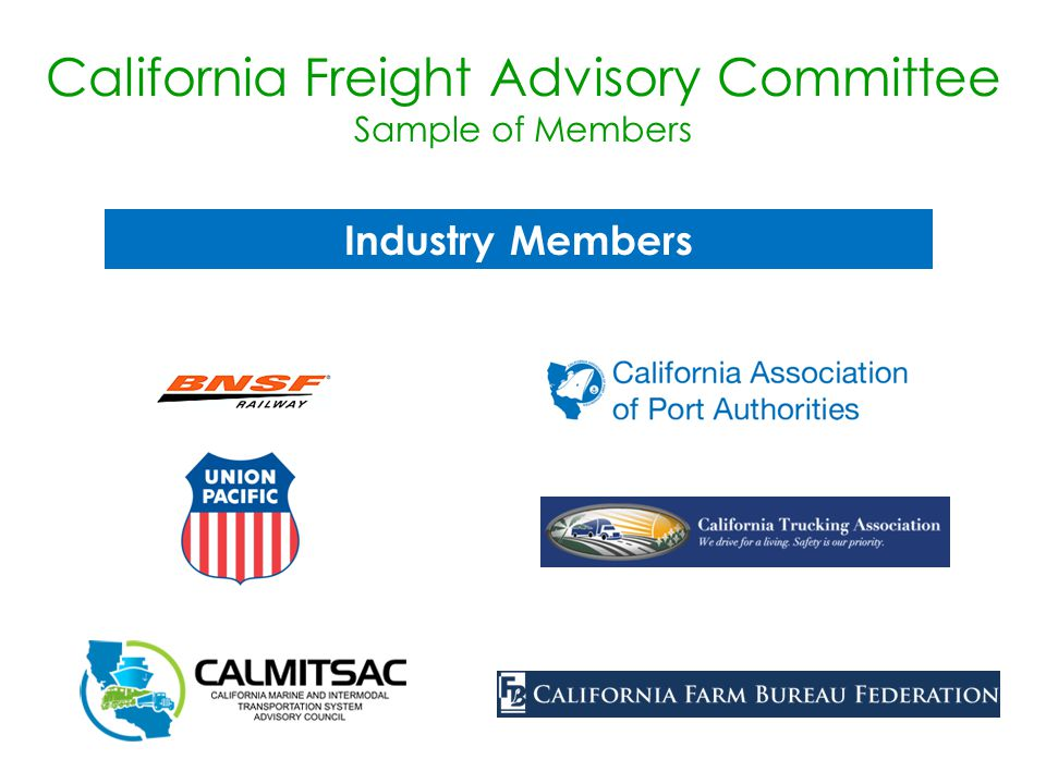 Industry Members California Freight Advisory Committee Sample of Members