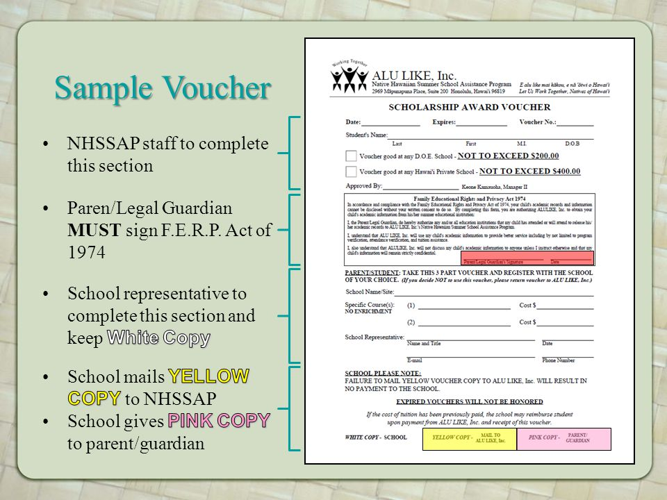 NHSSAP staff to complete this section Sample Voucher Paren/Legal Guardian MUST sign F.E.R.P. Act of 1974