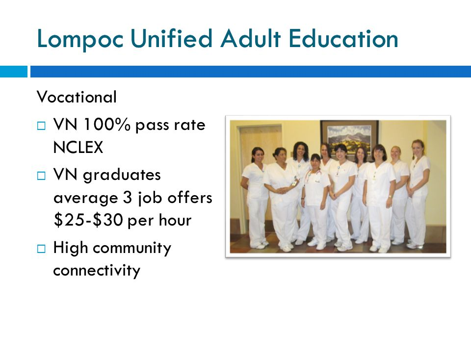 Lompoc Unified Adult Education Vocational  VN 100% pass rate NCLEX  VN graduates average 3 job offers $25-$30 per hour  High community connectivity Lompoc Unified Adult Education