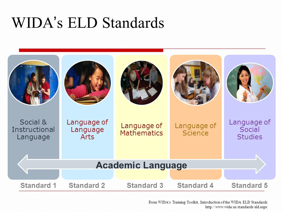 WIDA's ELD Standards Social & Instructional Language Language of Language Arts Language of Mathematics Language of Science Language of Social Studies Academic Language Standard 1 Standard 2 Standard 3 Standard 4 Standard 5 From WIDA's Training Toolkit, Introduction of the WIDA ELD Standards http://www.wida.us/standards/eld.aspx