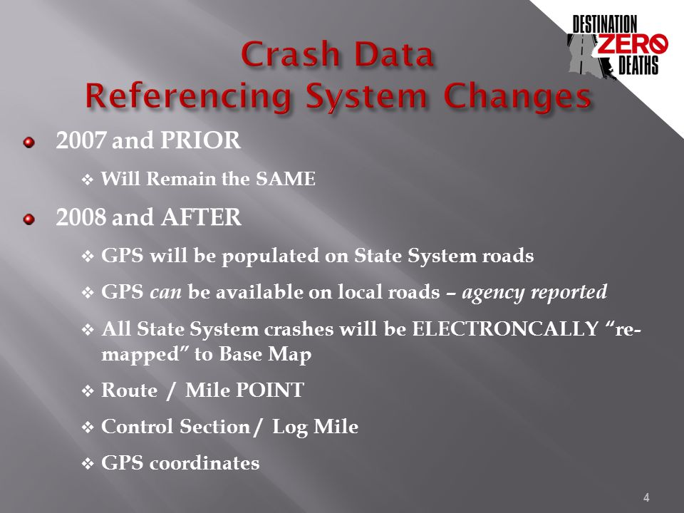 2007 and PRIOR  Will Remain the SAME 2008 and AFTER  GPS will be populated on State System roads  GPS can be available on local roads – agency repo