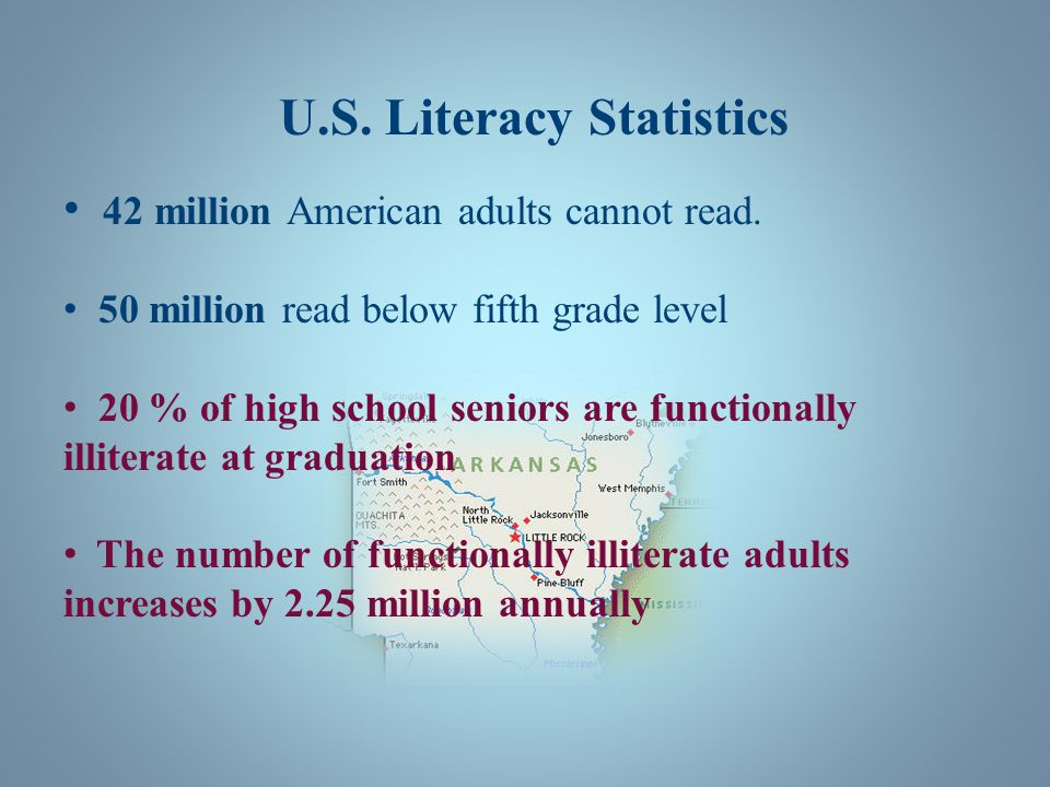 U.S. Literacy Statistics 42 million American adults cannot read. 50 million read below fifth grade level 20 % of high school seniors are functionally