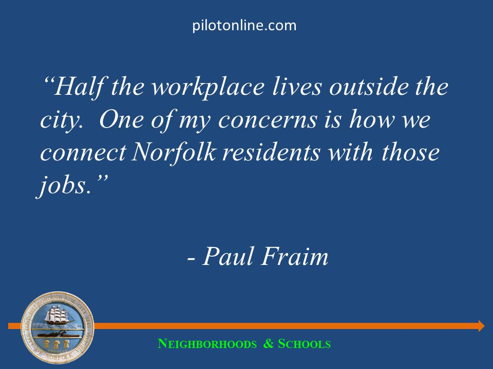 N EIGHBORHOODS & S CHOOLS pilotonline.com If half the workplace lives outside the city… Neighborhoods & Schools Connect non- resident employees to Norfolk Connect Norfolk residents to employment