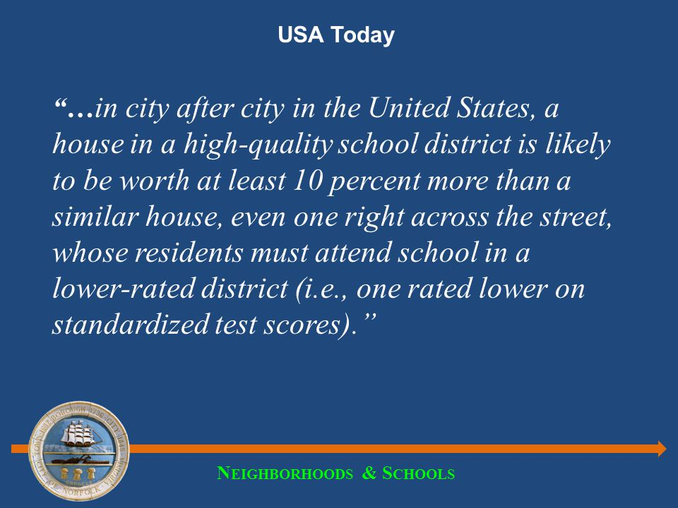 N EIGHBORHOODS & S CHOOLS USA Today … in city after city in the United States, a house in a high-quality school district is likely to be worth at least 10 percent more than a similar house, even one right across the street, whose residents must attend school in a lower-rated district (i.e., one rated lower on standardized test scores).