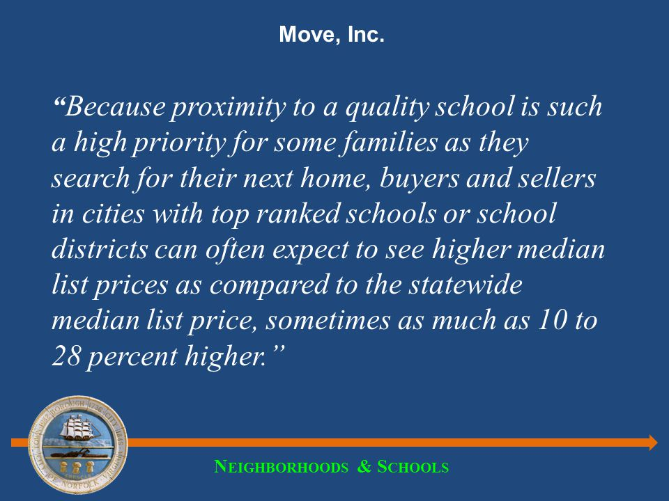 "N EIGHBORHOODS & S CHOOLS Move, Inc. "" Because proximity to a quality school is such a high priority for some families as they search for their next h"